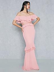 baratos -Mulheres Moda de Rua / Sofisticado Bainha / Sereia Vestido - Frente Única, Sólido Longo