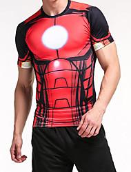 baratos -Homens Camiseta Moda de Rua Estampa Colorida / Animal Preto e Vermelho