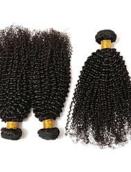 baratos -3 pacotes Cabelo Brasileiro Kinky Curly Cabelo Humano Um Pacote de Solução / Extensões de Cabelo Natural 8-28 polegada Tramas de cabelo humano extensão / Melhor qualidade / Legal Côr Natural
