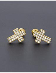 cheap -Men's Cubic Zirconia Stylish Stud Earrings - Cross European, Trendy, Hip-Hop Gold / Silver For Daily / Street