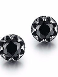 cheap -Men's Synthetic Aquamarine / Synthetic Sapphire Stylish / Solitaire Stud Earrings - Titanium Steel, S925 Sterling Silver Precious Stylish, Artistic, Trendy Black / Dark Blue / Navy For Street