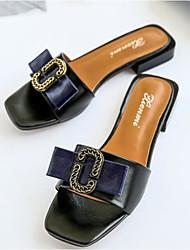 cheap -Women's Shoes Cowhide Summer Comfort Slippers & Flip-Flops Flat Heel White / Black / Blue
