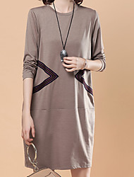cheap -Women's Plus Size Basic Loose T Shirt Dress / Fall / Winter