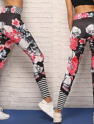 baratos -Mulheres Calças de Yoga - Preto Esportes Caveiras Elastano Meia-calça / Leggings Corrida, Fitness, Exercite-se Roupas Esportivas Respirável, Compressão, Confortável Com Stretch