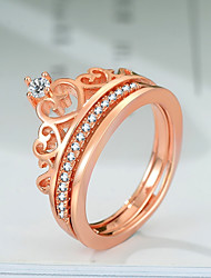 cheap -Women's Layered / Stylish Ring Set - Rose Gold Plated, Imitation Diamond Crown Sweet Lolita, Trendy, Korean 5 / 6 / 7 Rose Gold For Gift / Work
