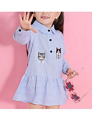 cheap -Kids Girls' Cat Solid Colored / Animal Long Sleeve Dress