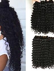 baratos -3 pacotes Cabelo Brasileiro Deep Curly Cabelo Humano Presentes / Peça para Cabeça / Extensor 8-28 polegada Preta Côr Natural Tramas de cabelo humano Fabrico à Máquina Tecido / Melhor qualidade