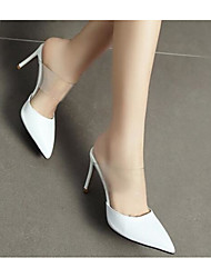 cheap -Women's Shoes Nappa Leather Spring Basic Pump Clogs & Mules Stiletto Heel White / Black