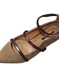 Недорогие -Жен. Обувь Полиуретан Лето С ремешком на лодыжке На плокой подошве На плоской подошве Заостренный носок Черный / Коричневый