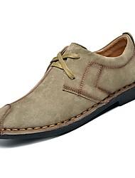Недорогие -Муж. Свиная кожа Осень Удобная обувь Туфли на шнуровке Темно-синий / Темно-серый / Хаки