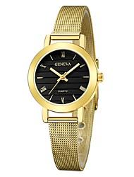 Недорогие -Geneva Жен. Наручные часы Китайский Новый дизайн / Повседневные часы / Cool сплав Группа На каждый день / Мода Черный / Серебристый металл / Золотистый