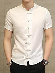 Недорогие -Муж. Большие размеры - Рубашка Хлопок / Лён, Классический воротник Однотонный / С короткими рукавами
