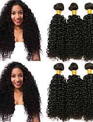 Недорогие -6 Связок Перуанские волосы Kinky Curly Натуральные волосы Человека ткет Волосы / Уход за волосами / Пучок волос 8-28 дюймовый Естественный цвет Ткет человеческих волос Машинное плетение