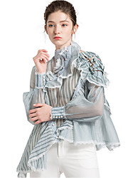 cheap -women's blouse - striped round neck