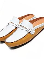 Недорогие -Муж. Кожа Лето Удобная обувь Башмаки и босоножки Контрастных цветов Черный / Желтый / Синий