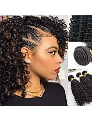 Недорогие -3 Связки Малазийские волосы Kinky Curly Натуральные волосы Подарки / Головные уборы / Удлинитель 8-28 дюймовый Черный Естественный цвет Ткет человеческих волос Машинное плетение