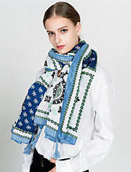 cheap -Women's Vintage / Holiday Rectangle - Floral Blue & White, Tassel