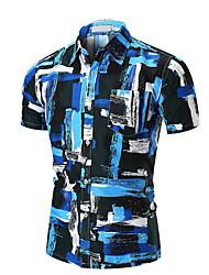 baratos -Homens Camisa Social Básico Estampado, Listrado Folha tropical