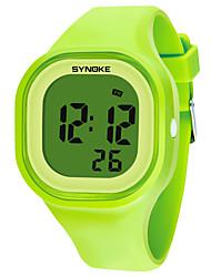 Недорогие -SYNOKE Муж. / Жен. Спортивные часы / электронные часы Календарь / Секундомер / Защита от влаги силиконовый Группа Мода Черный / Белый / Синий / Хронометр / Фосфоресцирующий