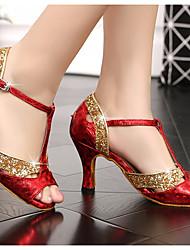 baratos -Mulheres Sapatos de Dança Latina Couro Ecológico Salto Salto Grosso Sapatos de Dança Vermelho