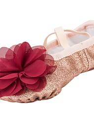 Недорогие -Девочки Обувь для балета Синтетика На каблуках Цветы На плоской подошве Танцевальная обувь Золотой