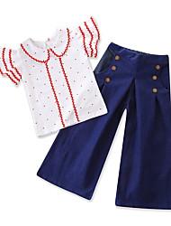 Недорогие -малыш Девочки Однотонный / Горошек С короткими рукавами Набор одежды