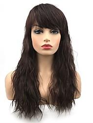 Недорогие -Парики из искусственных волос Волнистый Средняя часть Искусственные волосы синтетический Темно-коричневый Парик Жен. Длинные Без шапочки-основы Темно-коричневый / темно-рыжий