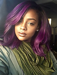 Недорогие -Не подвергавшиеся окрашиванию Лента спереди Wig Бразильские волосы Волнистый Парик Стрижка каскад 130% плотность Волосы с окрашиванием омбре / Темные корни Фиолетовый Жен. Короткие