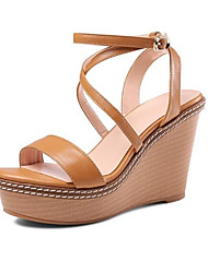 cheap -Women's Shoes Nappa Leather Summer Comfort Sandals Wedge Heel Black / Light Brown