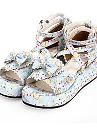 cheap -Lolita Shoes Sweet Lolita Dress Princess Lolita Wedge Heel Shoes Pattern 8 cm CM White / Black For PU(Polyurethane) Halloween Costumes