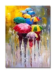 Недорогие -styledecor® современные ручные росписи абстрактные ходунки с красочными зонтиками в проливной дождь на холсте масляная живопись для настенного искусства, готовая повесить искусство