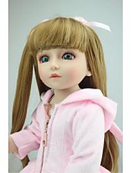 abordables -NPKCOLLECTION Poupée à boule / Blythe Doll Fille de la campagne 18 pouce Silicone complet / Vinyle - réaliste, Implantation artificielle Yeux bleus Pour enfants Fille Cadeau
