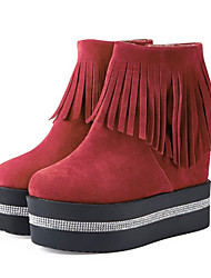 cheap -Women's Shoes Suede Fall & Winter Fashion Boots Boots Wedge Heel Round Toe Mid-Calf Boots Rhinestone / Sparkling Glitter / Tassel Black / Wine