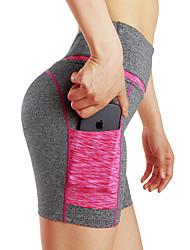 baratos -Mulheres Esportivo Calças de Yoga - Preto, Cinzento Escuro Esportes Côr Sólida Shorts Pilates, Fitness, Exercite-se Roupas Esportivas Respirável, Macio, Ultra Fino Com Stretch