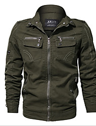 Недорогие -Муж. Куртка Рубашечный воротник Однотонный / Длинный рукав