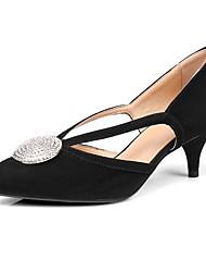 Недорогие -Жен. Обувь Овчина Весна Удобная обувь / Туфли лодочки Обувь на каблуках На каблуке-рюмочке Черный / Коричневый