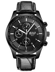 Недорогие -BOSCK Муж. Наручные часы Кварцевый 30 m Защита от влаги Новый дизайн Фосфоресцирующий Кожа Группа Аналоговый Роскошь Мода Черный - Белый Черный Красный