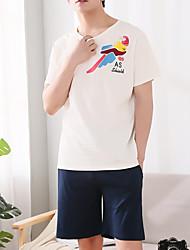 Χαμηλού Κόστους Ανδρικές πιτζάμες και ρόμπες-Στρογγυλή Λαιμόκοψη Σετ Εσώρουχα Πυτζάμες Ανδρικά Γεωμετρικό
