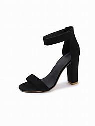 abordables -Femme Chaussures Matière synthétique Eté Bride de Cheville Sandales Talon Bottier Noir / Fuchsia / Marron