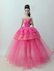 economico -Vestiti Vestito Per Bambola Barbie Fucsia Tulle / Pizzo / Misto Seta / Cotone Abito Per Ragazza Bambola giocattolo