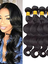 cheap -4 Bundles Malaysian Hair Wavy Human Hair Natural Color Hair Weaves / Hair Bulk / Tea Party Favors / Extension 8-28 inch Natural Color Human Hair Weaves Soft / Best Quality / Hot Sale Human Hair