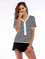 economico -T-shirt Per donna Essenziale A strisce / Monocolore In bianco e nero