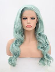 Недорогие -Синтетические кружевные передние парики Жен. Волнистый Зеленый Боковая часть Искусственные волосы Жаропрочная Зеленый Парик Длинные Лента спереди Мятно-зелёный / Да