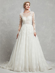 cheap -A-Line Jewel Neck Chapel Train Lace / Tulle Made-To-Measure Wedding Dresses with Appliques / Lace by LAN TING BRIDE®
