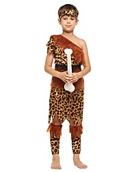 cheap -Primitive Costume Boys' Halloween / Carnival / Children's Day Festival / Holiday Halloween Costumes Brown Solid Colored / Halloween Halloween
