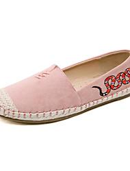 baratos -Mulheres Sapatos Couro Ecológico Primavera Verão Conforto Rasos Sem Salto Ponta Redonda Estampa Animal Azul / Rosa claro / Amêndoa / 3D