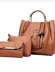 baratos -Mulheres Bolsas PU Conjuntos de saco 3 Pcs Purse Set Ziper Cinzento / Roxo / Khaki