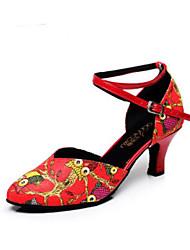 baratos -Mulheres Sapatos de Dança Moderna Couro Ecológico Têni Salto Grosso Sapatos de Dança Preto / Café / Vermelho / Ensaio / Prática
