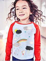 Недорогие -Дети / Дети (1-4 лет) Девочки Галактика Длинный рукав Футболка