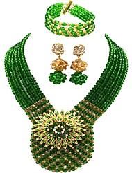 Недорогие -Жен. Многослойный Комплект ювелирных изделий - Австрийские кристаллы MOON Дамы, Мода Включают Струнные ожерелья Красный / Зеленый / Светло-коричневый Назначение Для вечеринок / Серьги